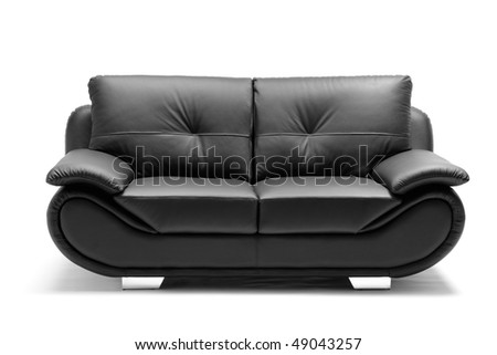 A view of a modern leather sofa isolated on white background