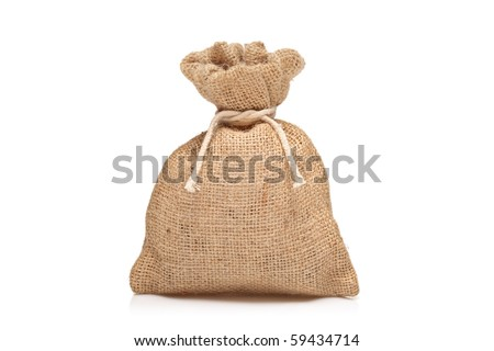 A view of a money bag against white background