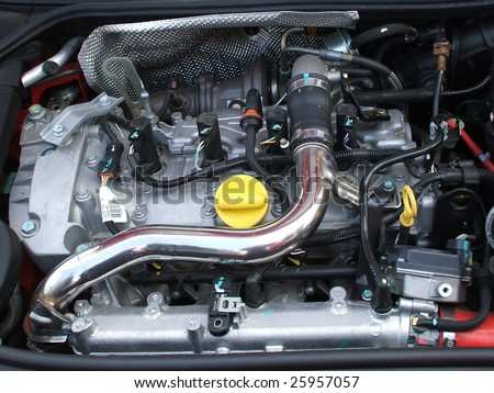 A View of a Motor Car Engine. - stock photo