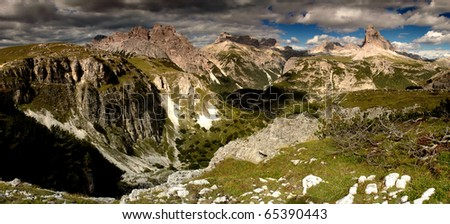A view of a mountain landscape. These are the Odle mountains in the Dolomites, Northern Italy