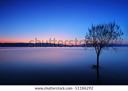 A view of a Ohrid lake at sunset, Macedonia