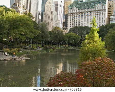 A view of a pond in Central Park with a backdrop of the city.