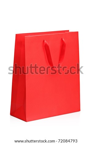 A view of a red shopping bag isolated on white background