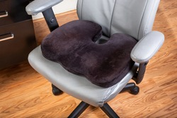 A view of a seat cushion on an office chair.