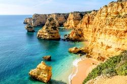 A view of a shore near Portimao, Algarve region, Portugal