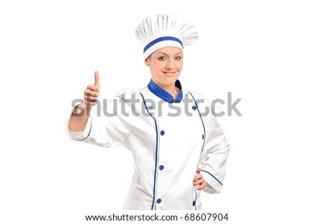 A view of a smiling baker giving  thumb up isolated on white background