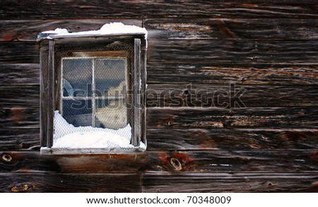 a view of a snow-covered window