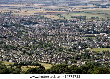A view of a town or village seen from above