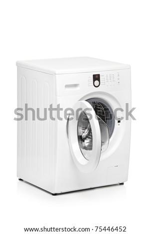A view of a washing machine isolated on white background