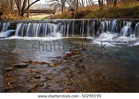 A view of a waterfall just outside of Kansas City, Missouri