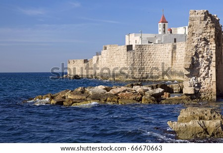a view of acre ancient city walls