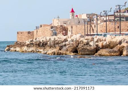 a view of Akko ancient city walls
