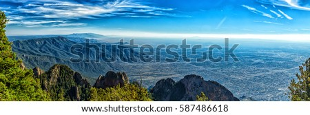 A view of Albuquerque, New Mexico (Elev. 5,312 ft.) from the 10,678 foot elevation of Sandia Crest.