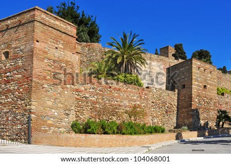 a view of Alcazaba of Malaga, in Malaga, Spain - stock photo