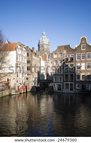 A view of Amsterdam, the church is Saint Nicholas church