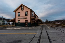 A view of an abandoned train station along the East Broad Top Railroad deep in the Appalachian Mountains of Pennsylvania.