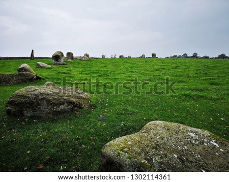 A view of an ancient stone circle in Cumbria known as Long Meg and Her Daughters Stock fotó ©