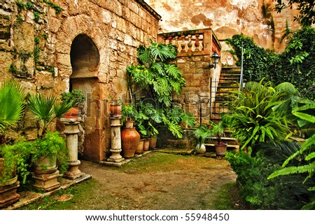 A view of arab baths in Palma de Mallorca, Spain - stock photo