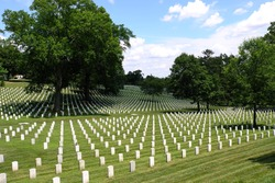 A view of Arlington National Cemetery in summer