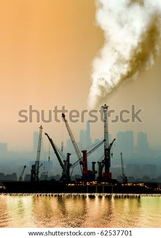 a view of atmospheric air pollution from factory