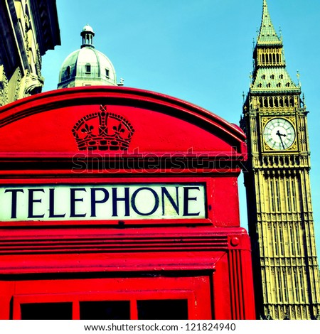 a view of Big Ben and a classic red phone box in London, United Kingdom, with a retro effect