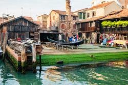 A view of boatyard on Squero di San Trovaso, Venice, Italy.