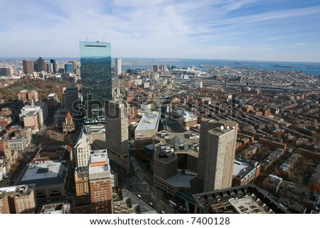 A view of Boston's downtown to the north in landscape orientation