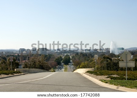 A view of Canberra, captured from the end of Commonwealth Avenue, Canberra, Australia