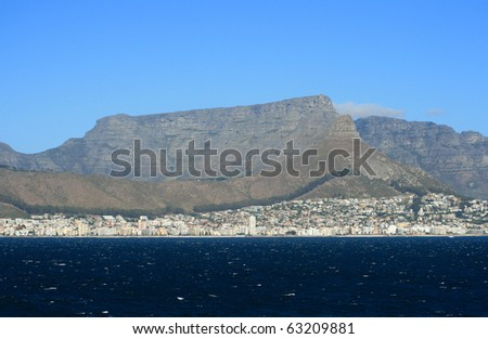 A view of Cape Town and Table Mountain