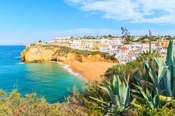 A view of Carvoeiro fishing village with beautiful beach, Portugal