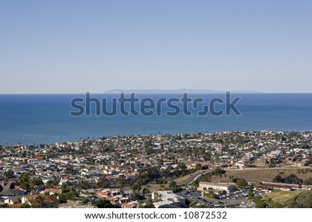 A view of Catalina on a clear day taken from the hills in San Clemente