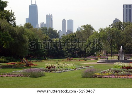 A view of Chicago from Lincoln Park - stock photo