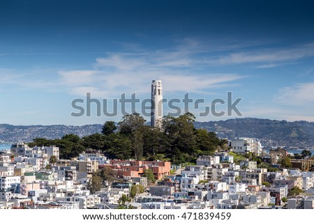 A view of Coit Tower in San Francisco