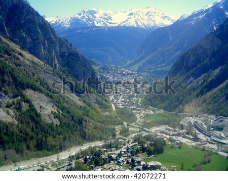 A view of Courmayeur seen from the Mont Blanc, Aosta Valley, northern Italy
