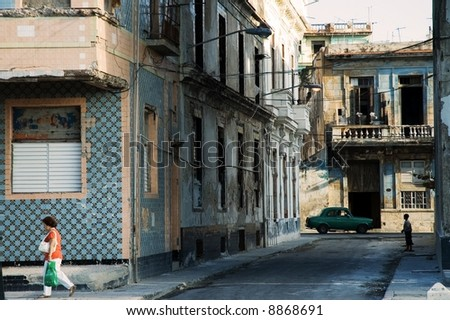 A view of crumbling buildings in Havana - stock photo