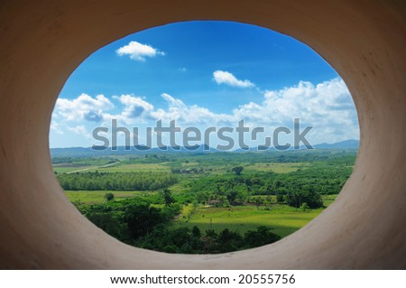A view of cuban countryside landscape from Trinidad tower