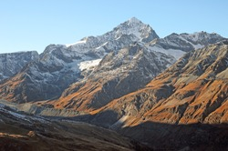 A view of Dent Blanche in the afternoon sun from Riffelalp.