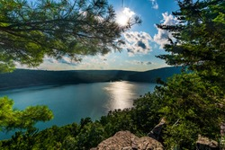 A view of Devil's Lake at Devil's Lake state park on a hike up one of the trails in Baraboo, Wisconsin, USA.