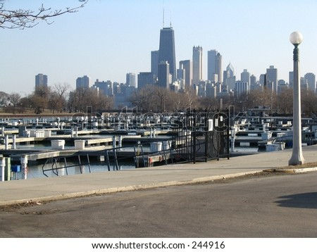A view of downtown Chicago from Diversey harbor.
