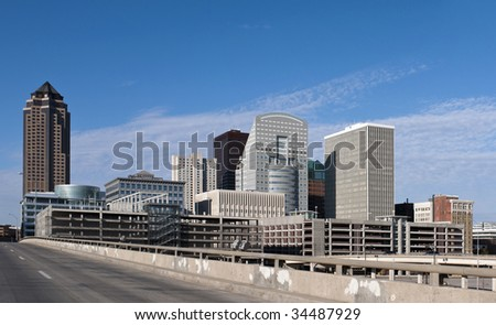 A view of downtown Des Moines Iowa. - stock photo