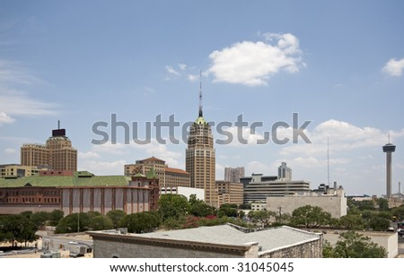 A view of downtown San Antonio Texas on a bright sunny day