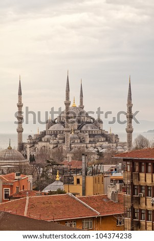 A view of famous landmark the blue mosque in the turkish city of Istanbul