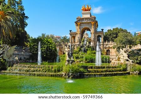 A view of Fountain of Parc de la Ciutadella, in Barcelona, Spain