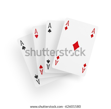 A view of four aces playing cards isolated on white background
