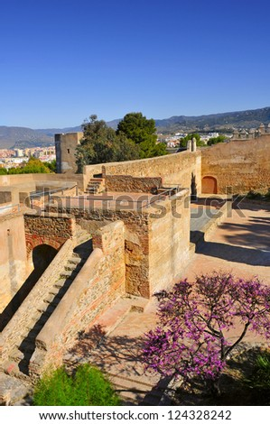 a view of Gibralfaro Castle in Malaga, Spain