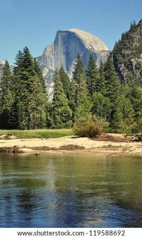 A View of Half-Dome and the River in Yosemite National Park