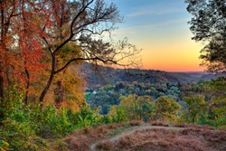 A view of Harper's Ferry town from the trail on Maryland Heights in the Fall during sunset