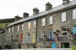 A view of historic Welsh mine workers cottages in Corris Uchaf, Gwynedd, Wales, UK.