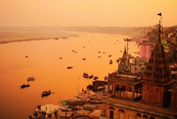A view of India's cultural capital Varanasi, during the dusk hours.