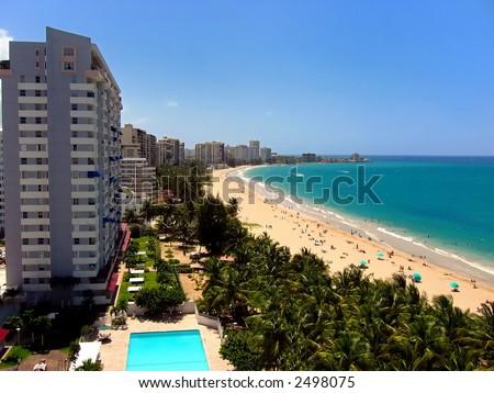 A view of Isla Verde Beach in San Juan, Puerto Rico, USA.